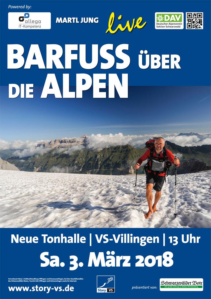 Plakat 2018_03_03 Barfuss über die Alpen